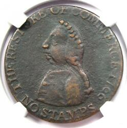1766 William Pitt Halfpenny 1/2p Coin - Certified Ngc Xf Details Ef - Rare