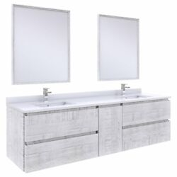 Fresca Stella 72 Wall Hung Double Bathroom Vanity W/ Mirrors In Rustic White