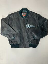 Vintage Carl Banks G Iii Miami Dolphins Green Leather Jacket Sports Rare Xl