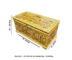 Vintage Trunk Box, Hand Painted Trunk Box, Camel Bone Fitted Miniature Maharaja