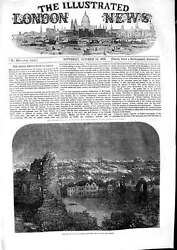 Original Old Antique Print 1853 View Dudley Iron Works Castle Smoking Chimneys