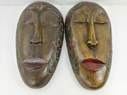 Oval Head Pair Hand Painted Carved Wood Face Wall Hanging Masks Indonesia Tribal