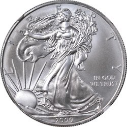 2009 Silver American Eagle 1 Ngc Ms70 Brown Label - Stock