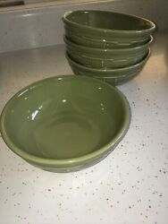 Longaberger Pottery Woven Traditions Dishes 4 Sage Green 7 Cereal Bowls