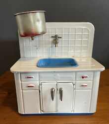 Rare Vintage Tin Toy Kitchen Sink Cabinet Ahi Japan With Pot Dollhouse