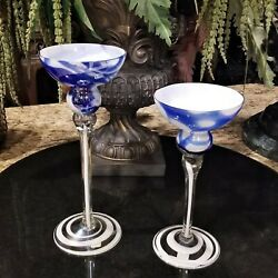 Pair Of Polish Jozefina Krosnos Cobalt Blue And White Art Glass Candle Holders