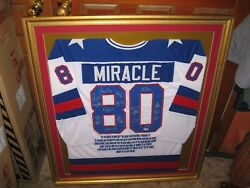 1980 Usa Hockey Miracle Team Signed White Jersey Framed Psa Certified Olympics