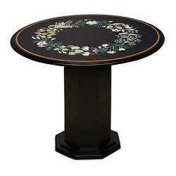 30'' Black Marble Table Top Coffee Center Pietra Dura Inlay Antique With Stand