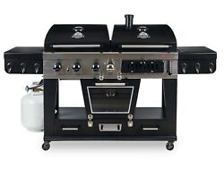Pit Boss Bbq Grill 4-in-1 Gas Charcoal Combo Griller Smoker Outdoor Meat Cooker