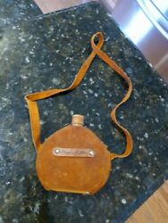 Vintage Childs Leather Canteen Gene Autry Autograph Cowboy Western Incomplete