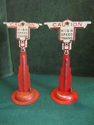 2 Marx O Scale Caution High Speed Trains Signs