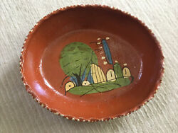 Vintage Antique Mexican Red Clay Pottery Bowl Terra-cotta Hand Painted 10.5 X 9