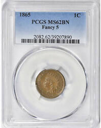 1865 Fancy 5 Indian Head Cent Penny Coin Uncirculated Pcgs Ms62 Bn Brown Ms62bn
