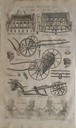 C1797 Dated Antique Print New Invented Patent Drill Machines Agriculture Winters