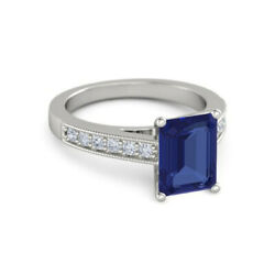 950 Platinum Luxurious 2.74 Ct Sapphire And Diamond Engagement Ring Size 4 5 6 7 8