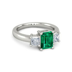 Solid 950 Platinum 2.40 Ct Graceful Emerald And Diamond Wedding Ring Size 4 5 6 7