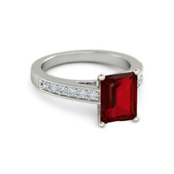 Solid 950 Platinum Glamorous 2.74 Ct Ruby And Diamond Engagement Ring Size 4 5 6 7
