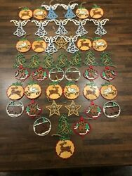 Huge Lot Of 47 Handpainted Laser Cut Christmas Ornaments-free Shipping
