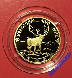 100 Roubles 2004 Russia Protect Our World Reindeer Gold Proof Rare