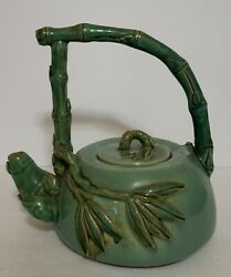 Yixing Zisha Style Tall Bamboo Handle And Spout Teapot Applied Leaves Green Pod