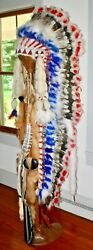Native American Indian Headdress Repro And Carved Burl Wood Dispay Stand Rare