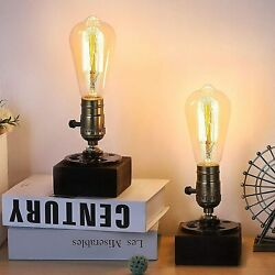 Set Of 2 Table Lamp-industrial Loft Style Steam Punk Lamp With Wood Base For Bar