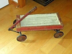 Antique Kiddie Kart Wagon By H.c. White Co Wood Toy Wooden Pull Toy Cart