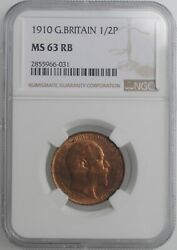 Great Britain 1/2 Penny 1910 Ngc Ms63 Rb King Edward Vii 1902 - 1910