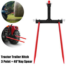 3 Point Cat 1 Trailer Hitch Attachment W/49 Hay Bale Spear Tractor Quick Attach