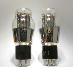 2a3 Sylvania Vacuum Tubes Black Plates Used Old Stock Strong Tests Lot Of 2