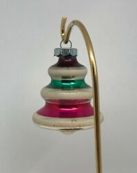 Vintage Glass Ornament   Silver With Green Pink And Red Stripes