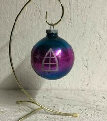 Vintage Glass Round Ornament   Shiny Brite   Pink And Blue W/glittered Windows