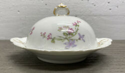 Rare Antique Theodore Haviland Schleiger 36a Covered Three Piece Butter Dish