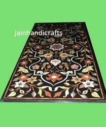 6and039x3and039 Black Marble Table Top Coffee Dining Inlay Lapis Mosaic Flower Item