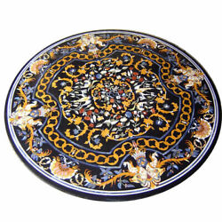 43 Black Marble Table Top Dining Coffee Inlay Lapis Fancy Decor Mosaic Center