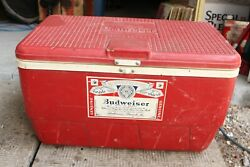 Vintage Budweiser Beer Cooler By Igloo Red Plastic Advertising Red Camping