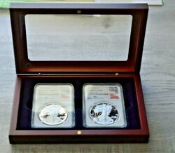 1986 And 2020 Ngc Pf70 Uc S And W Mercanti Signed Silver Eagles In Mahogany Case