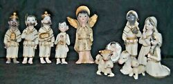 Antique Old Plaster Nativity Christmas Set Of Thirteen Figures Hand Painted