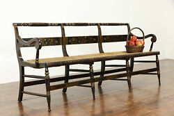 Farmhouse Antique Rush Seat Hall Bench, Hand Painted Wood Frame 38542