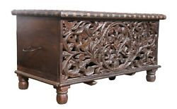 Antique Handcrafted Furniture Wooden Box Carved Laving Room Home Decorative