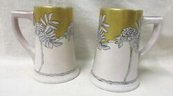 Two Limoge China Tankards With Arts And Crafts Floral Design