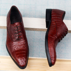 New Mens Work Office Pointy Toe Wedding Formal Lace Up Business Leisure Shoes