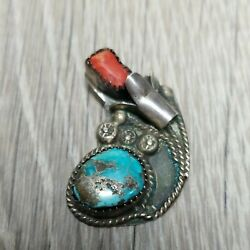Antique Sterling Silver Corn Flower Red Coral Turquoise Pendant