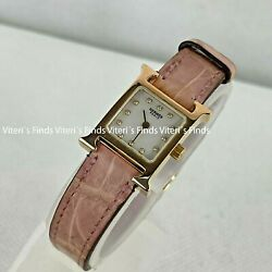 Auth Hermes H-our 12p Diamond Pink 18k Gold Crocodile Pearl Dial Watch Hh1.170