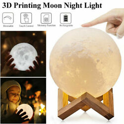 5.9 7.09'' 3d Printing Led Night Light Moon Lamp Touch Control Usb Charging Us