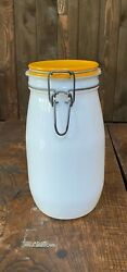 Vintage Wheaton Milk Glass Canister/jar With Yellow Class Lid 1.5 L