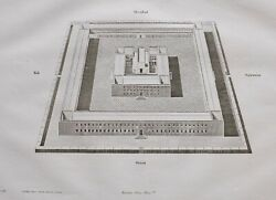 1861 Antique Print View And Elevation Of The Solomon Temple Accoring To Calmet