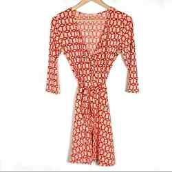 41 Hawthorn Red Pink Long Sleeve V Neck Knee Length Wrap Dress Size Small S