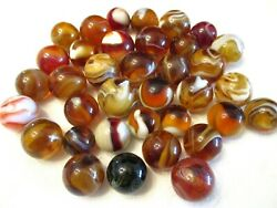 Collection Of 37 Old Antique Carmel Slag Glass Marbles Akro And Mf Christensen