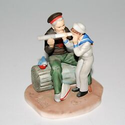 """Gorham 1984 Norman Rockwell Figurine """"captain"""" Sailor With Boy And Telescope"""